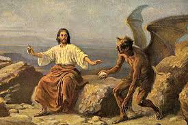 Th Devil attempting to temptate Christ