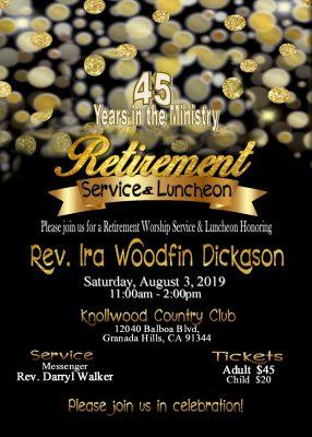 Reverend ira Woodfin Dickason Retirement Luncheon