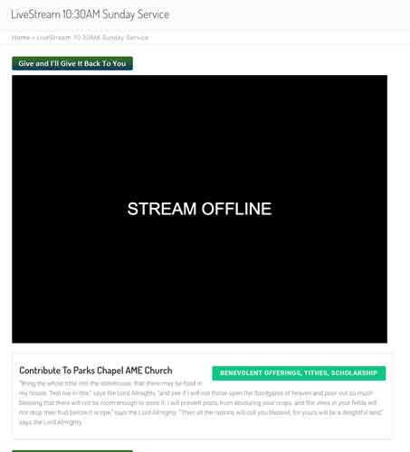 Livestreaming and online giving
